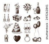 vector set of ink hand drawn... | Shutterstock .eps vector #245262841