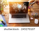 workplace with notebook  office ... | Shutterstock . vector #245270107