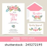 vector set of invitation cards... | Shutterstock .eps vector #245272195