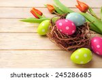 Easter Basket With Colored Egg...