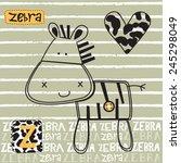 cute zebra card  z for the...   Shutterstock .eps vector #245298049