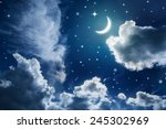 night sky with stars and moon | Shutterstock . vector #245302969