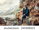 portrait of a young sad man... | Shutterstock . vector #245308321
