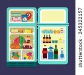 vintage opened refrigerator  ... | Shutterstock .eps vector #245322157