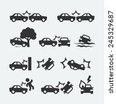 Car Crash Related Icon Set