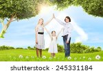 happy family of three dreaming... | Shutterstock . vector #245331184
