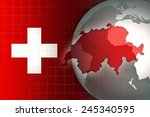 switzerland map and flag on a... | Shutterstock . vector #245340595