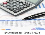 sales report analysis with pen  ... | Shutterstock . vector #245347675