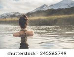 Girl In A Hot Spring In Icelan...