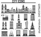 set of vector cities silhouette  | Shutterstock .eps vector #245375605