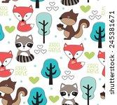 fox  chipmunk and raccoon... | Shutterstock .eps vector #245381671