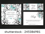 set of invitations with floral... | Shutterstock .eps vector #245386981