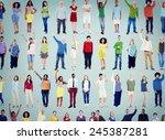 multiethnic casual people... | Shutterstock . vector #245387281