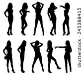 set of vector silhouettes.... | Shutterstock .eps vector #245388415