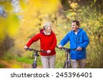 active seniors having walk with ... | Shutterstock . vector #245396401