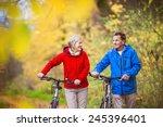 active seniors having walk with ... | Shutterstock . vector #245396401