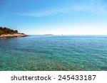 Adriatic Sea coastline in Croatia, Premantura - stock photo
