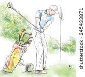 topic  golf  posture  golf... | Shutterstock .eps vector #245433871