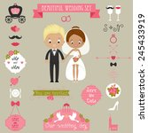 cute couple and big wedding... | Shutterstock .eps vector #245433919