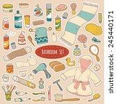 set of vector bathroom and... | Shutterstock .eps vector #245440171
