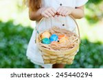 Stock photo close up of colorful easter eggs in a basket 245440294