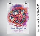 vector love doodles watercolor... | Shutterstock .eps vector #245445655