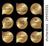 golden badges  premium quality   Shutterstock .eps vector #245452531