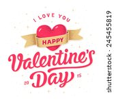 happy valentines day card.... | Shutterstock .eps vector #245455819