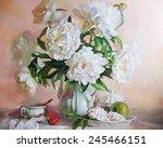 drawing oil  flowers  still...   Shutterstock . vector #245466151