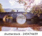 Man Standing On Old Bridge By...