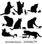Cats And Mice Silhouette  ...