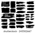Stock vector set of black ink vector stains 245502667