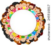 crowd of children with blank... | Shutterstock .eps vector #245510017