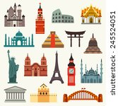 world landmarks | Shutterstock .eps vector #245524051
