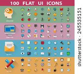 100 flat icons collection ... | Shutterstock .eps vector #245535151
