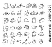 set of different hats in doodle ... | Shutterstock .eps vector #245540524