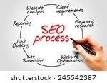 SEO process information flow chart, business concept