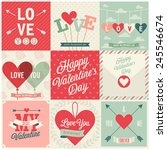 Stock vector valentine s day set emblems and cards vector illustration 245546674