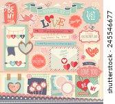 valentine s day scrapbook set   ... | Shutterstock .eps vector #245546677
