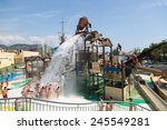 Small photo of BARCELONA, SPAIN - AUGUST 30, 2014: Laberint Pitara water attraction at Illa Fantasia waterpark. Park contains 22 Attractions, 3 giant swimming pools
