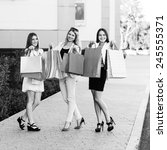 shopping   beautiful girls with ... | Shutterstock . vector #245555371