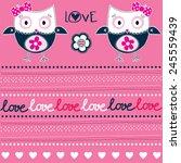 cute owl pattern love card...   Shutterstock .eps vector #245559439