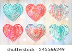 set of ethnic patterned... | Shutterstock .eps vector #245566249