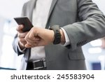 man with mobile phone connected ... | Shutterstock . vector #245583904