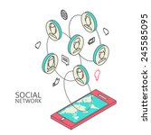 conceptual image with social... | Shutterstock .eps vector #245585095
