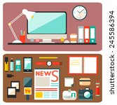 set of vector journalism icons. ... | Shutterstock .eps vector #245586394