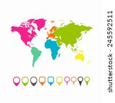 world map   collection of map... | Shutterstock .eps vector #245592511
