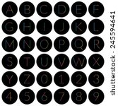 set of black round alphabet... | Shutterstock .eps vector #245594641