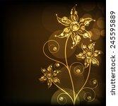 Golden And Shiny Floral Design...