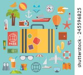 flat icons set with long shadow ... | Shutterstock .eps vector #245596825